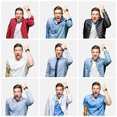 Collage of attractive young man over white isolated background angry and mad raising fist frustrated poster