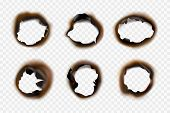 Burn Paper Holes. Fire Damaged Antique Cardboard And White Paper Vector Template. Hole Burn Collecti poster