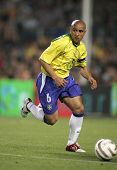 BARCELONA, SPAIN - MAY. 25: Brazilian player Roberto Carlos in action during the friendly match betw