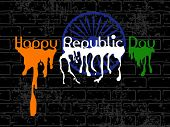 stock photo of asoka  - Republic Day Text with flew paint and Asoka Wheel on black wall grungy background for Republic and Independence Day - JPG