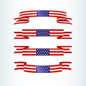 American Flag Ribbon Stars Stripes Patriotic American Theme Usa Flag Of A Wavy Ribbon Shape Icon Des poster