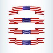 American Flag Ribbon Stars Stripes Patriotic American Theme Usa Flag Of A Wavy Ribbon Shape Icon Des poster