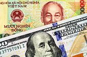 A Macro Image Of A Vietnamese Ten Thousand Dong Note With An American One Hundred Dollar Bill In Mac poster