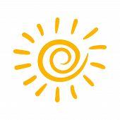 Hand Drawn Sun Vector Icon. Sun Sketch Doodle Illustration. Handdrawn Sunshine Concept. poster