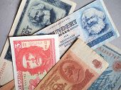 Vintage Withdrawn Banknotes Of Cccp, Ddr, Germany poster