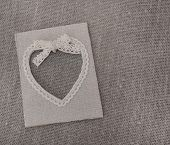 Heart Shaped Canvas Frame On Grey Canvas poster