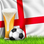 Realistic 3d Soccer Ball And Glass Of Beer On Grass With National Waving Flag Of England. Design Of  poster