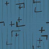Tie Dye Japanese Geometric Simple Seamless Pattern. Scribble Cartoon Doodle Craft Texture. Geo Wabi  poster