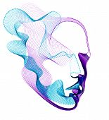 Spirit Of Digital Electronic Time, Artificial Intelligence Vector Illustration Of Human Head Made Of poster