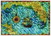 Vector Antique Map With Treasures Hunt Concept, Compass And Old Ship. Pirate Adventures, Treasure Hu poster