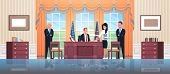 United States President Sitting Workplace Signing Law Act Document With Female Secretary And Male Bo poster