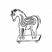 Trojan Horse With Worm Inside. Computer Virus Symbol. Grunge Dry Brush Vector Illustration. poster