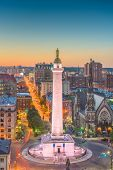 Baltimore, Maryland, USA cityscape at Mt. Vernon and the Washington Monument.  poster