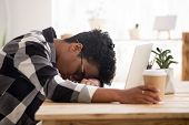 Bored Exhausted African American Woman Falling Asleep Sleeping At Workplace poster