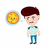 Young Suffering Sad Man Is Hungry. Thinks About Food, Fast Food, Pizza. Vector Flat Cartoon Illustra poster