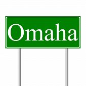 Omaha green road sign