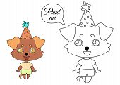 Dog With Hanging Ears In A Festive Cap And Summer Clothes Is Standing And Laughing. Coloring Book Pa poster