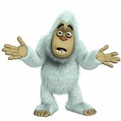 image of bigfoot  - 3 d cartoon cute white bigfoot toy yeti - JPG