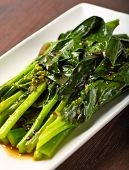 stock photo of gai  - sauted chinese broccoli with garlic and oyster sauce - JPG