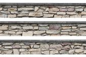 stock photo of old stone fence  - Panoramic stonewall - JPG