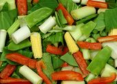 pic of mange-toute  - selection of raw vegetables  for stir fry - JPG