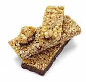 foto of roughage  - close up of a cereal bar on white background with clipping path - JPG