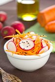 stock photo of grated radish  - Grated Carrot with Radish and sesame salad