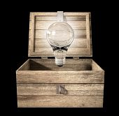 stock photo of hasp  - An open rough wooden planked box with a hinged lid and a hasp with a regular illuminated lightbulb above it on an isolated background - JPG