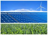 stock photo of ethanol  - Wind turbine solar panels and wheat field - JPG