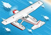 Isometric Flying Seaplane In Rear View