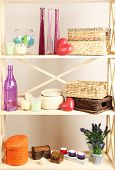 pic of armoire  - Beautiful white shelves with different home related objects - JPG
