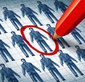 stock photo of recruitment  - Career search and job searching hiring the right candidate as an employment concept with drawings of businessmen in a network and a red pencil selecting the most qualified leader as a symbol of internet recruitment services - JPG
