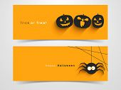 stock photo of halloween  - Website spooky header or banner set with Halloween pumpkin and spider - JPG