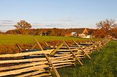 stock photo of battlefield  - A farmstead on the battlefield at Gettysburg National Military ParkPennsylvaniaUSA - JPG