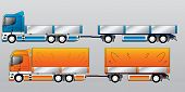 stock photo of 18 wheeler  - Truck with two and three axle trailer types - JPG