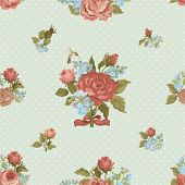 picture of forget me not  - Seamless holiday background with roses and forget me not in vintage style - JPG