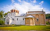 Orthodox monastery Studenica, Serbia, Unesco world heritage site. It is best known for its unique collection of 13th century frescoes. poster