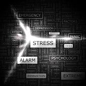 STRESS. Word cloud concept illustration. Graphic tag collection. Wordcloud collage with related tags
