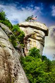 stock photo of chimney  - Chimney Rock at Chimney Rock State Park in North Carolina - JPG