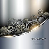 image of machinery  - Background metallic with technology gears - JPG
