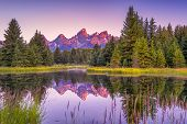 stock photo of ponds  - The Teton range - JPG