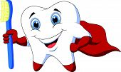 picture of tooth-fairy  - Vector illustration of Cute cartoon superhero tooth with toothbrush - JPG