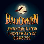 image of halloween characters  - Set of Three Dimensional Halloween Alphabet And Digit Vector - JPG