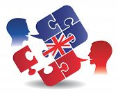 image of pronunciation  - Two students and Puzzle bubble talk with a British flag symbolizing English conversation - JPG