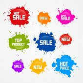 Colorful Vector Sale Blots, Splash Icons