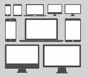 stock photo of hardware  - Vector illustration of different display devices icons - JPG