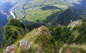 foto of pieniny  - Breathtaking view from Three Crown Mountain Pieniny Poland with large vistas of space down below - JPG