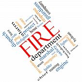 picture of ladder truck  - Fire Department Word Cloud Concept angled with great terms such as engine truck hose and more - JPG