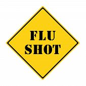 stock photo of flu shot  - A yellow and black diamond shaped road sign with the words FLU SHOT making a great concept - JPG