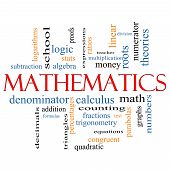 foto of fraction  - Mathematics Word Cloud Concept with great terms such as fractions algebra calculus and more - JPG